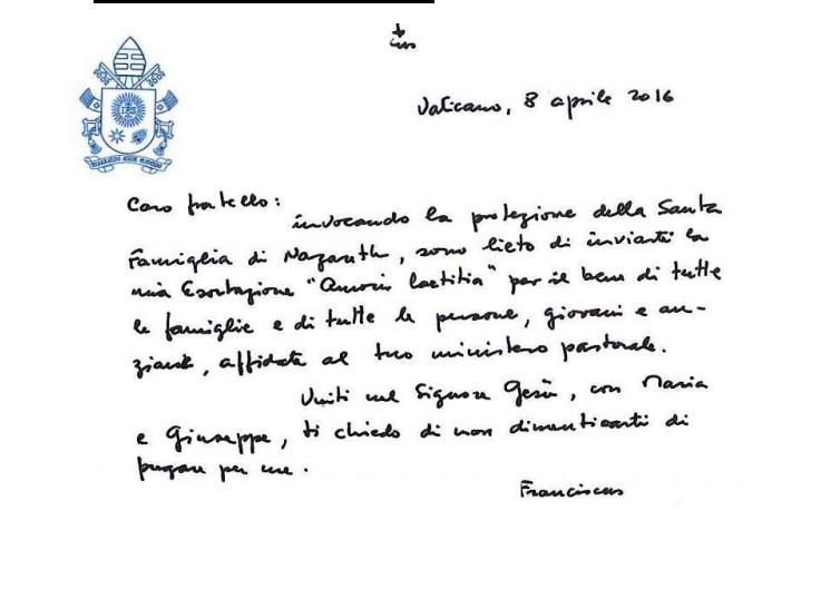 Il Chirografo del Papa per l'esortazione apostolica